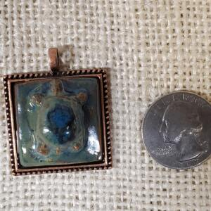 Olive and Blue Turtle Ceramic Pendant