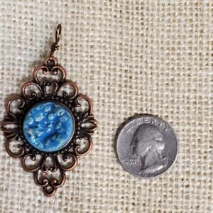 Blue Pebbles Ceramic Pendant in Copper Filigree Bezel