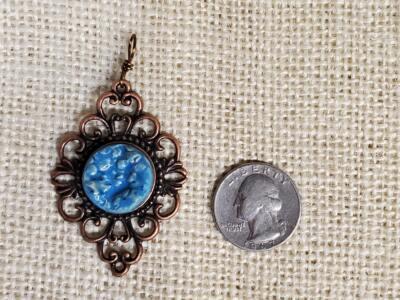 Blue Pebbles Ceramic Pendant in Copper Filigree Bezel