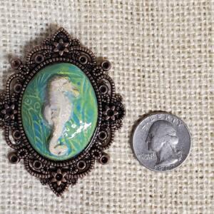 Seahorse in Copper Filigree Bezel