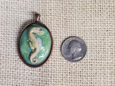 Seahorse with Blue Green Background