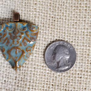 Blue Scroll Ceramic Pendant Front