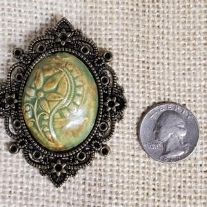 Green Floral Ceramic Pendant In Filigree Pendant