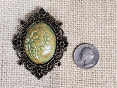 Green Floral Ceramic Pendant In Filigree Pendant
