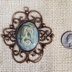 Seahorse Ceramic Pendant in Scroll Copper Bezel