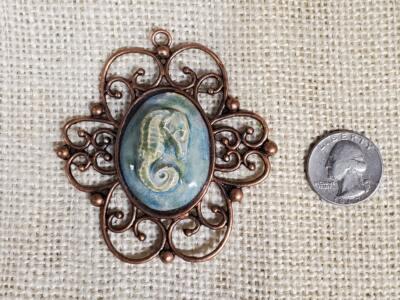 Seahorse Ceramic Pendant in Scroll Copper Bezel