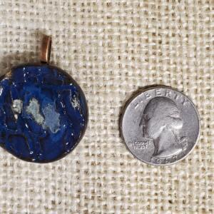 Blue Crackle Texture Ceramic Pendant Front