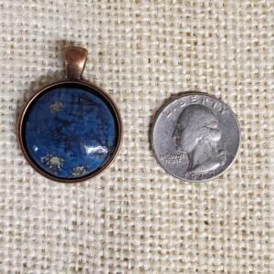 Blue Hash Round Ceramic Pendant in Copper Bezel
