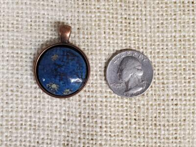 Blue Hash Round Ceramic Pendant in Copper Bezel