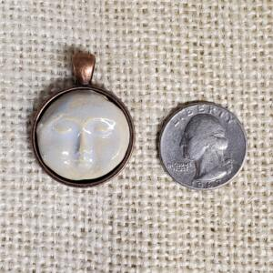 Round Moon Face Bone in Copper Bezel