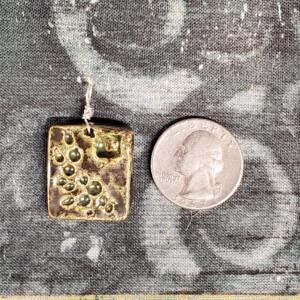 Rectangular Olive Ceramic Pendant with Round Indents Front