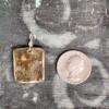 Rectangular Olive Ceramic Pendant with Round Indents Back