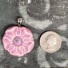 Pink Floral Ceramic Pendant Front