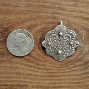 Scroll Silver Clay Pendant
