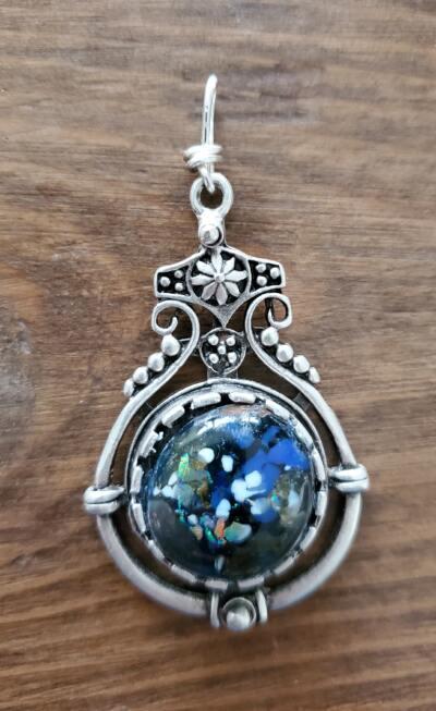Blue Fused Glass Pendant in Silver Bezel