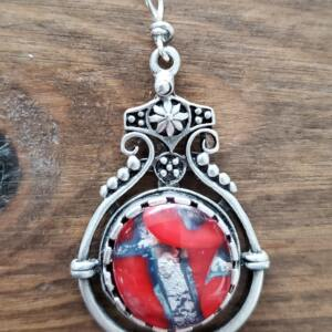 Red Glass in Silver Color Pendant