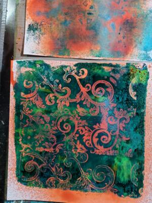 Gelli Art Print with Tim Holtz Spray Stain Resist Technique