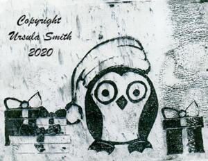 Gelli Print Transfer Xmas Penguin