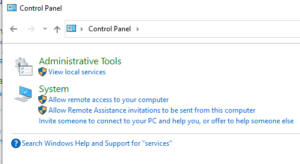 Control Panel Services Link