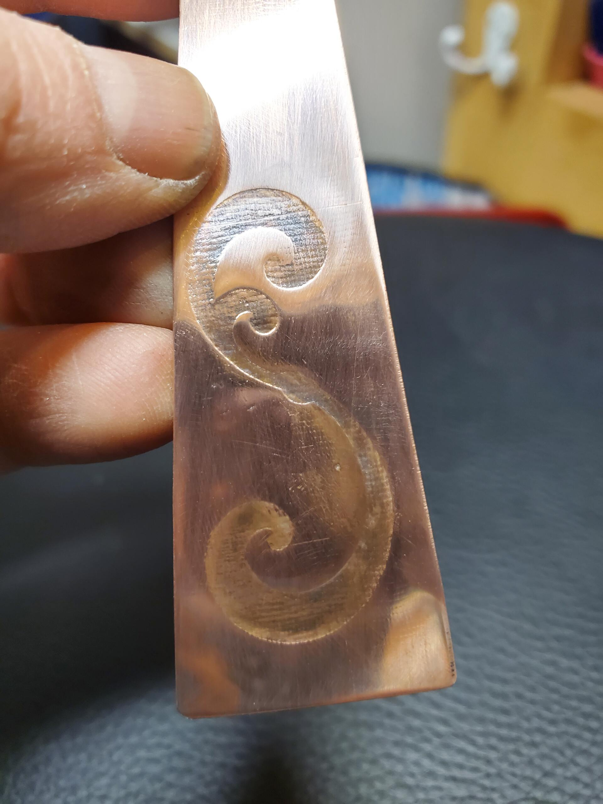 Rolling Mill Imprints on Copper with Yupo Paper Cut on Silhouette