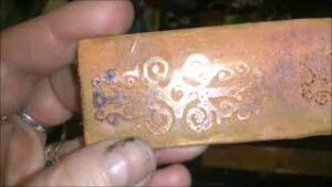 Etched Copper with Silicone Mold Stamp Resist