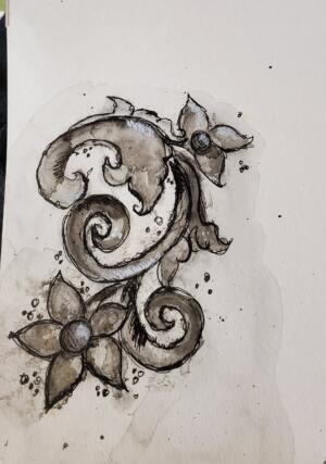 Watercolored S Scroll from Camera