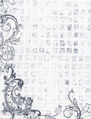 Grids and Scrolls Rubber Stamps with Ink Wiped Off as Texture